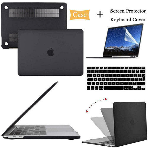 Black Hard Case Cover+keyboard Skin+Screen Protector For Apple MacBook pro 13inch A2251 A2289 2020