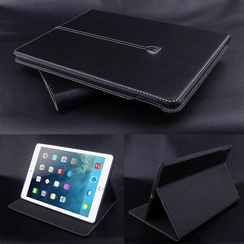 Black Luxury Magnetic Smart Leather Flip Wallet Case For iPad 9.7 2017 2018