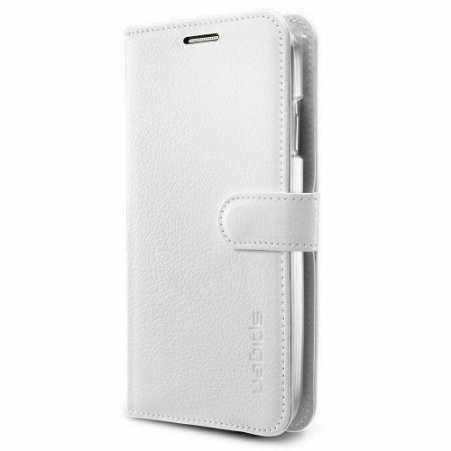 Galaxy S5 Case, Spigen Wallet S Leather Wallet Card Holder Cover - White