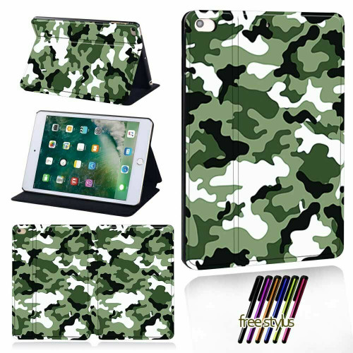 Green Camouflage PU Leather 360 Rotating Case for iPad  9.7(2018))