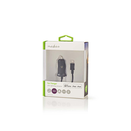 Car Charger | 2.4 A | Fixed cable | Apple Lighting | Black
