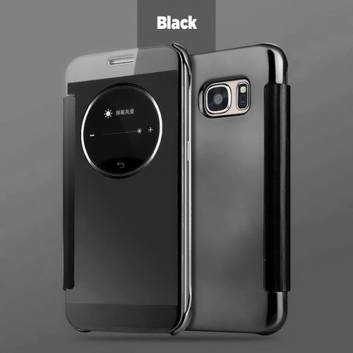 Luxury Leather Smart View Mirror Flip Case Cover For Samsung Galaxy S6 black