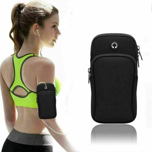Black  iphone 11 Sports Mobile Arm Phone Holder Bag Running Gym Exercise key holder