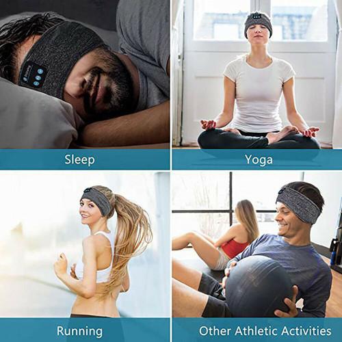 Grey Bluetooth Sleep Headband Wireless Stereo Headset Sport Music Earphone Headphone