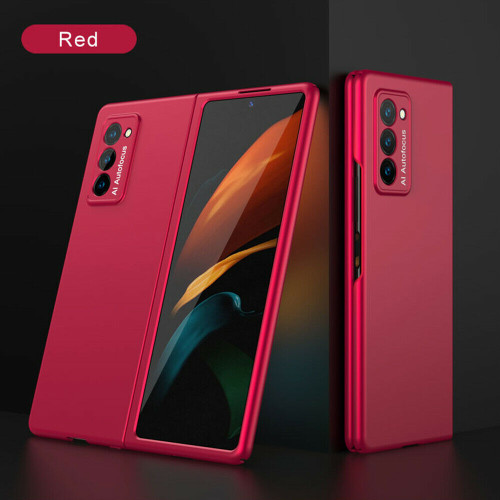 For Samsung Galaxy Z Fold 2 5G Luxury Shockproof Matte Slim PC Phone red Case