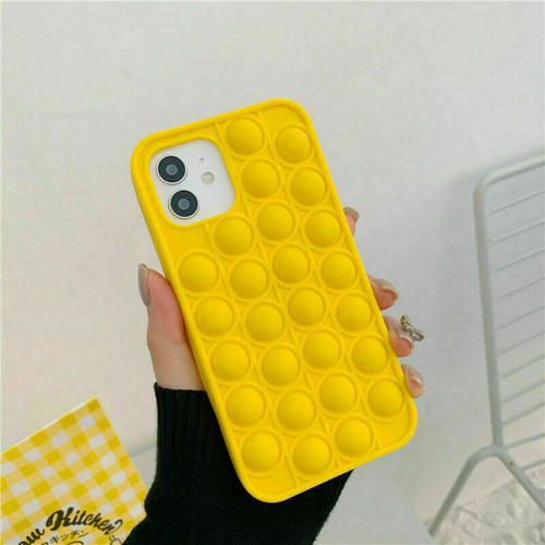Yellow Pop Fidget Push Bubble Toys Phone Cover Case  for iPhone 12 pro max