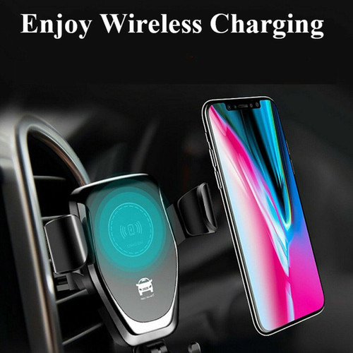 Black Fast 10W Qi Car Wireless Charger Mount Holder For Samsung Galaxy  S21 s21 plus s21 ultra