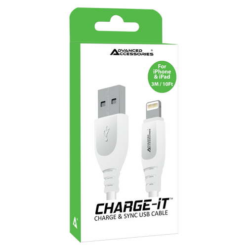 Advanced Accessories CHARGE-IT (3M) 8 Pin USB Data Cable for iPod/iPhone/iPad/iPad Air/iPad Mini Lightning - 3 Meters-White