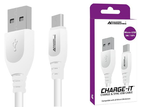 Advanced Accessories CHARGE-IT Micro USB Cable - 3 Metres-White