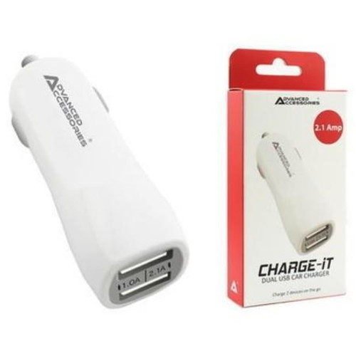 Advanced Accessories CHARGE-iT Premium Dual USB Car Charger with 2A and 1A USB Slots-White