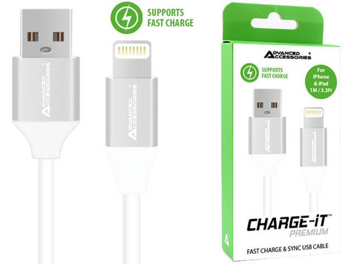 Advanced Accessories Charge IT Premium 8 Pin USB Cable 1M White