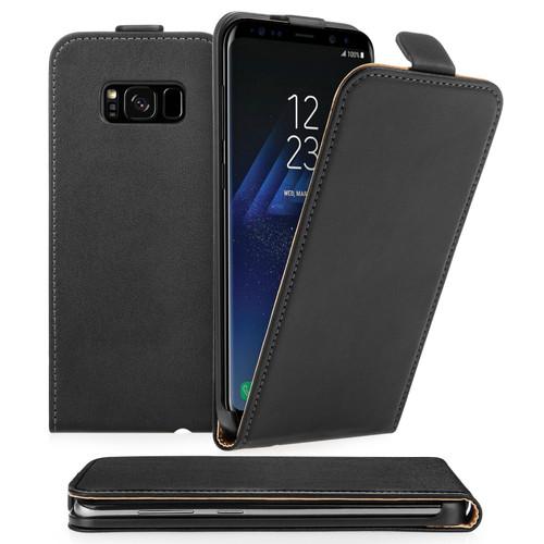 Caseflex Samsung Galaxy S8 Real Leather Flip Case - Black (Retail Box)