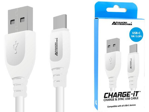 Advanced Accessories Charge IT USB to Type C cable 1M White
