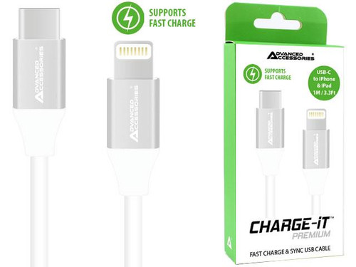 Advanced Accessories Charge It Premium USB C To Lightning Cable 1M- White