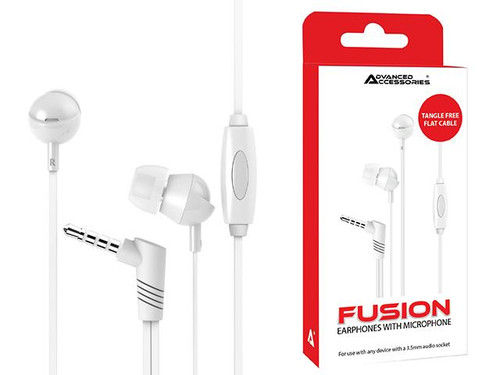Advanced Accessories Fusion 3.5mm Earphones with Microphone-White