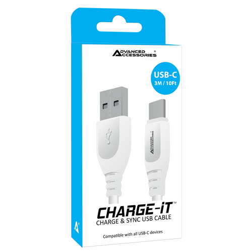 Advanced Accessories charge IT USB C cable 3M White