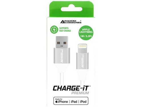 Advanced Accessories charge it premium MFI 8 pin USB cable 1m white (C89)