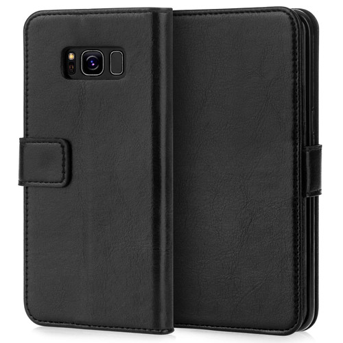 Caseflex Samsung Galaxy S8 Real Leather ID Wallet Case - Black (Retail Box)
