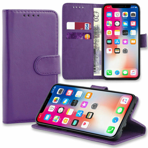 Purple  Pu Leather Flip Wallet Cover for iPhone 5 / 5S
