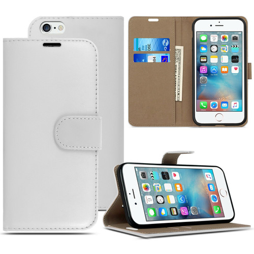 White Pu Leather Flip Wallet Cover for iPhone 5 / 5S