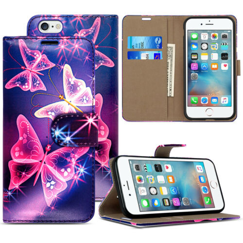Blue ultra butterfly Pu Leather Flip Wallet Cover for iPhone 5 / 5S