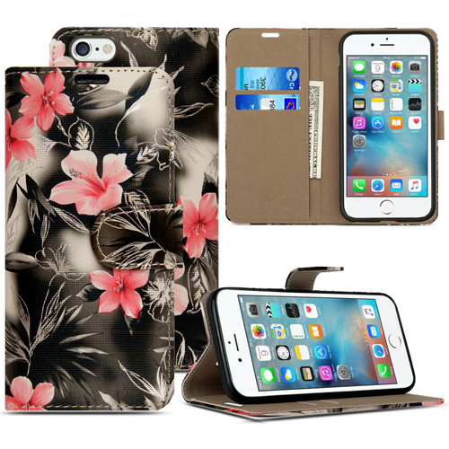 Pink flower on dark grey Pu Leather Flip Wallet Cover for iPhone 5 / 5S