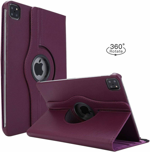 Apple iPad Pro 12.9 2021 purple 360 Rotating Stand Case Folding Leather Case