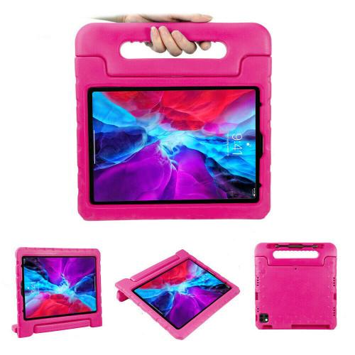"For Apple iPad Pro 12.9"" 2021 2020 pink Kids EVA Foam Handle Stand Shockproof Case"
