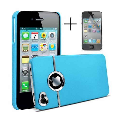 Chrome Series Hard Rubberised Case for iPhone 4/4S + Screen Protector - Blue