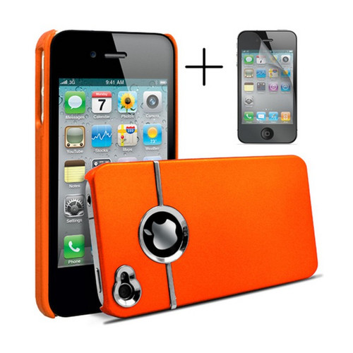 Chrome Series Hard Rubberised Case for iPhone 4/4S + Screen Protector - Orange