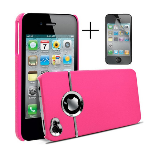 Chrome Series Hard Rubberised Case for iPhone 4/4S + Screen Protector - Pink