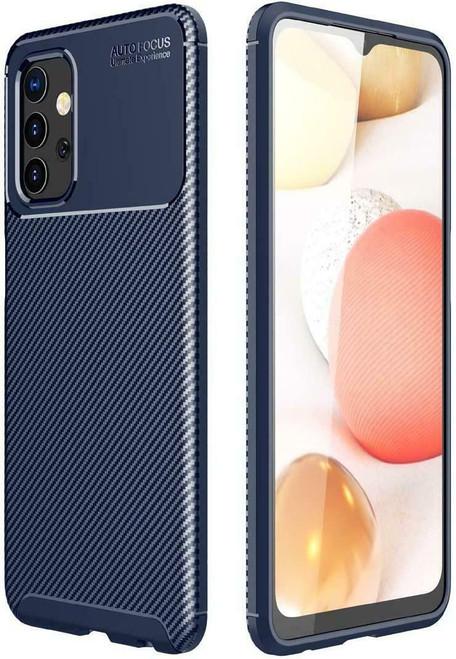 Blue Silicone Carbon Fibre Phone Cover for Samsung galaxy A72