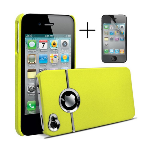 Chrome Series Hard Rubberised Case for iPhone 4/4S + Screen Protector - Yellow