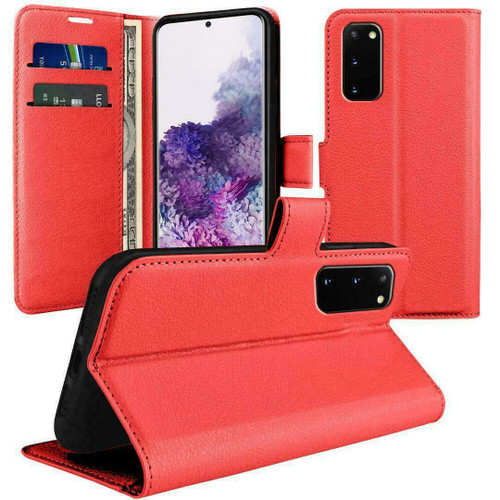 Red  Flip Wallet Leather Magnetic for Samsung galaxy A72