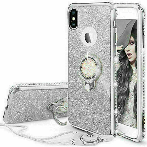 For Samsung galaxy A72  silver  Bling Diamond Ring Holder Soft Cover Case