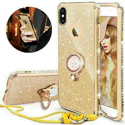 For Samsung galaxy A72 gold Bling Diamond Ring Holder Soft Cover Case