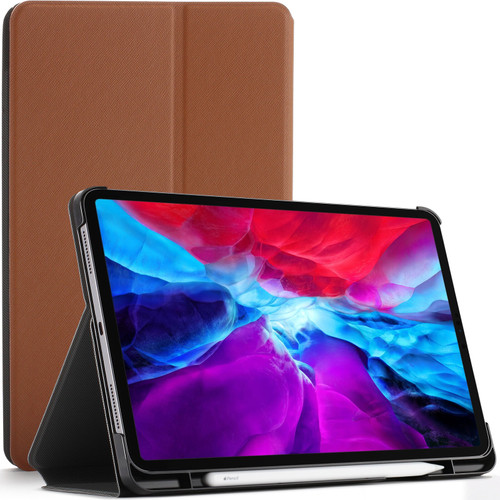 Brown Apple iPad Pro 12.9 2020 Protective Stand  Smart Auto Sleep Wake Case Cover