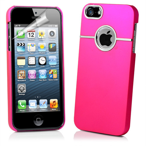 Chrome Series Hard Rubberised Case for iPhone 5 + Screen Protector - Hot Pink