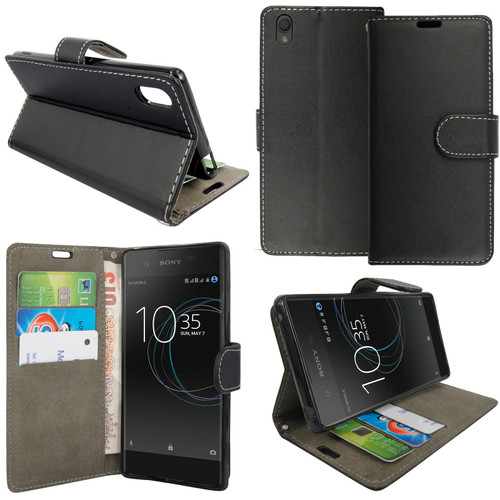 Black Sony Xperia X 2019 Leather Wallet Book Flip Side Open Case Cover