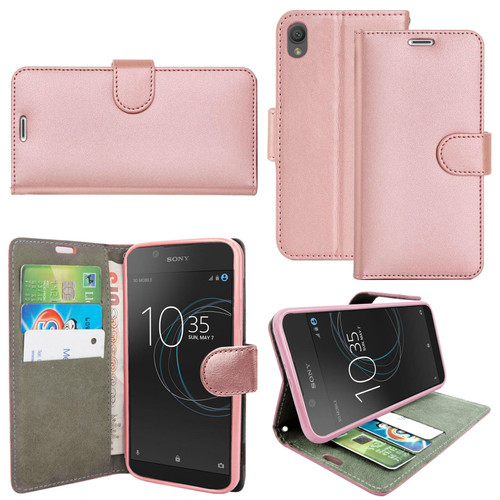 Rose gold Sony Xperia X 2019 Leather Wallet Book Flip Side Open Case Cover