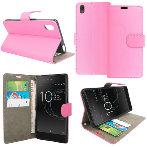 Pink Sony Xperia X 2019 Leather Wallet Book Flip Side Open Case Cover