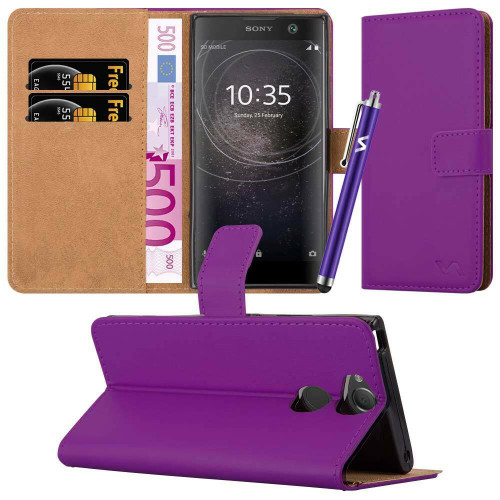 Purple Sony Xperia X 2019 Leather Wallet Book Flip Side Open Case Cover
