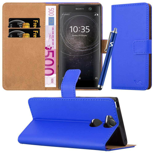 Blue Sony Xperia X 2019 Leather Wallet Book Flip Side Open Case Cover