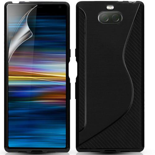 Black Sony Xperia 10 Slim Silicon Gel Phone Case Cover & Screen Protector