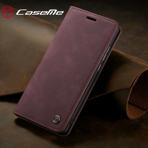 Wine red Leather Flip Case For Samsung A32 Shockproof Stand Wallet Cover