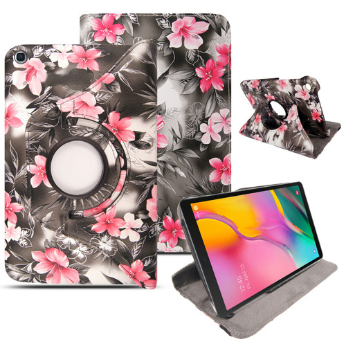 Samsung Galaxy Tab A 10.1 (2019) T510 T515 360 Rotating Stand pink flower grey Case