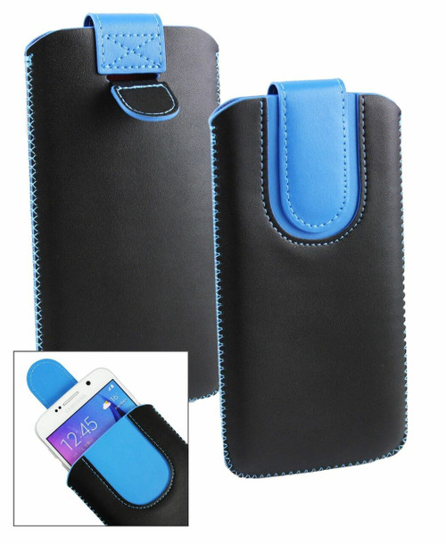 Copy of Stk Ace Plus Stylish PU Leather Pouch Black and Blue Case