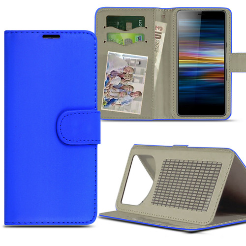 Blue For Sony Xperia L4 (2020)Case Magnetic Leather Wallet Flip Case Folio Book Cover