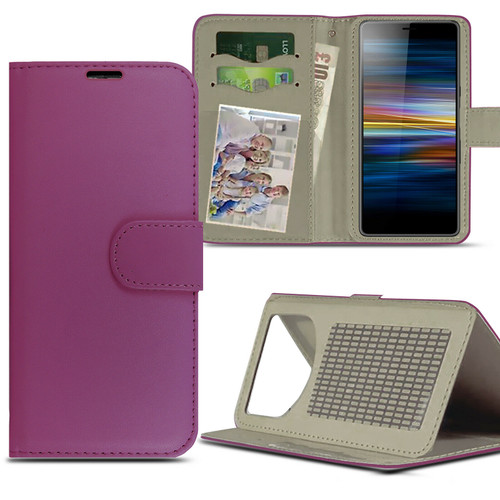 Purple For Sony Xperia L4 (2020)Case Magnetic Leather Wallet Flip Case Folio Book Cover