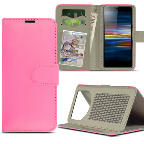 Pink For Sony Xperia L4 (2020)Case Magnetic Leather Wallet Flip Case Folio Book Cover